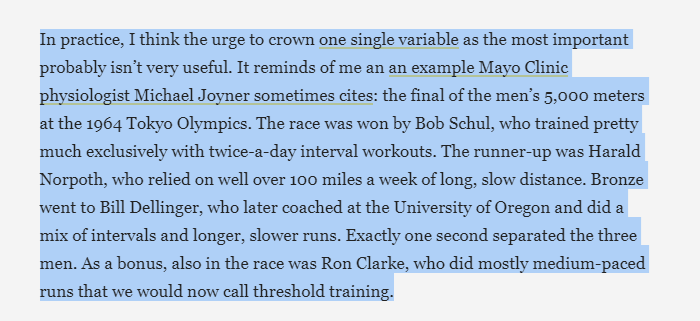 Love this anecdote from @DrMJoyner. Many ways to get to the podium. twitter.com/sweatscience/s…