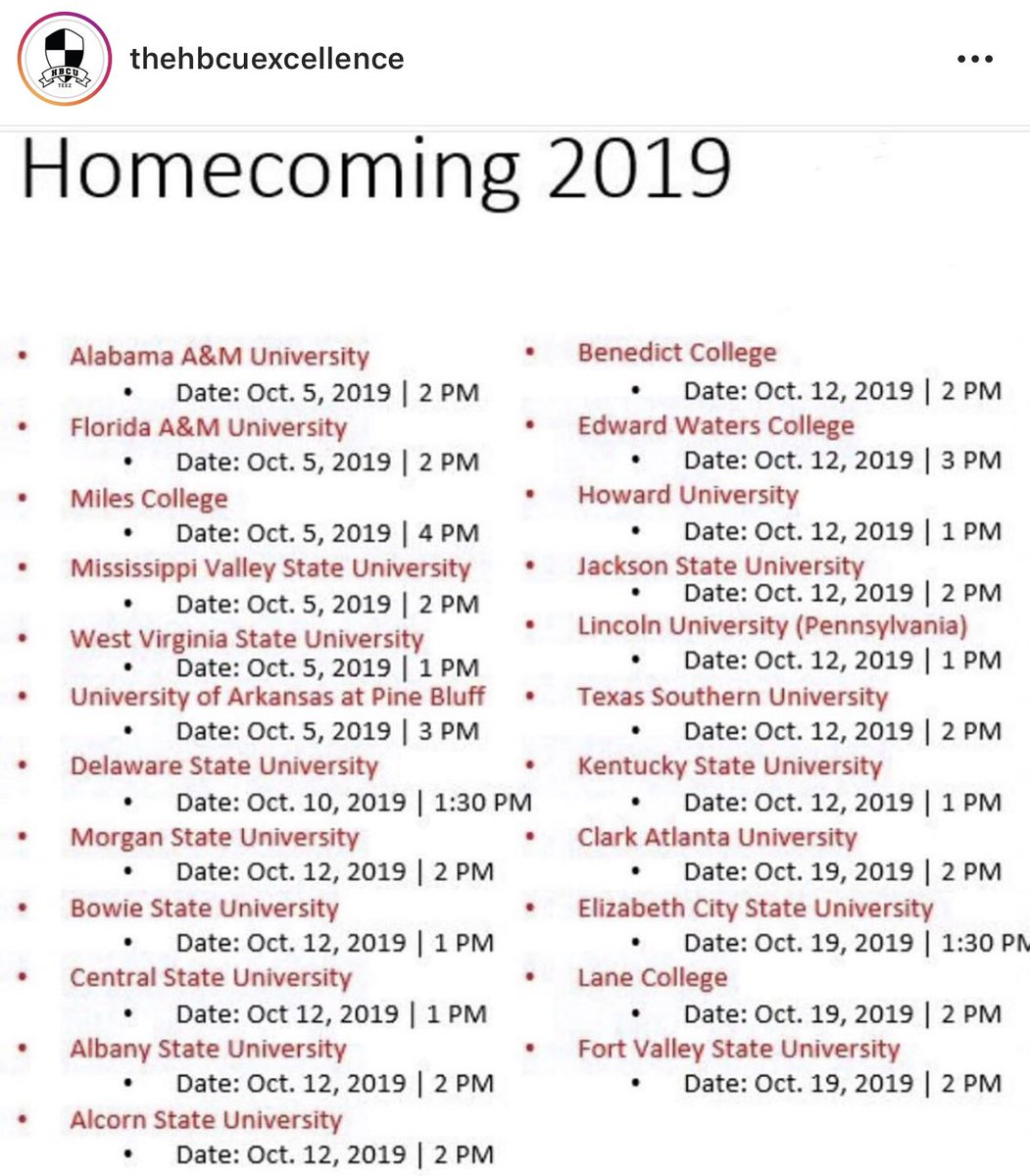 HBCU Homecoming dates. RT to help a student out or locals  whichever . <br>http://pic.twitter.com/0U6YcJj5is