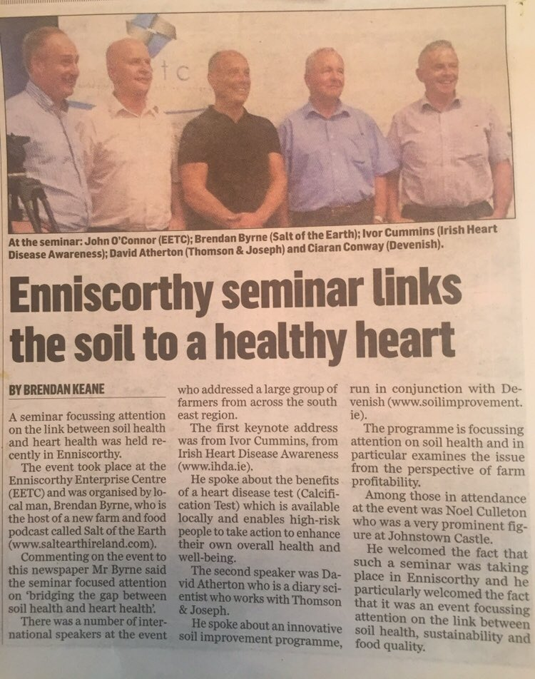 'Bridging the gap between soil health and heart health'. Insightful presentations from Ivor Cummins @FatEmperor & David Atherton,  Thomson & Joseph @CiaranConway4 @DevenishNutri at @EnterpriseWex with @JohnAOConnor @setv_ie @SoilProgramme #SoilHealth #HeartHealth @EnniscGuardian <br>http://pic.twitter.com/QoDNLnKsrQ