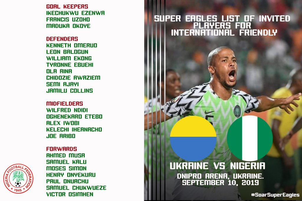 List of invited @NGSuperEagles players for the International Friendly against #Ukraine National Team on September 10, 2019. #SoarSuperEagles #Team9jaStrong