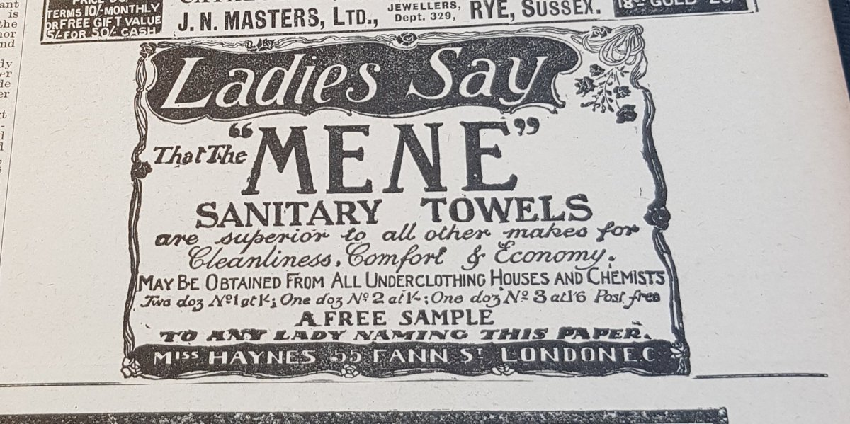 This is the first time I've ever found an advert for sanitary towels - which I find remarkable (March 1902). Has anyone any experience of other ads for sanitary products for women? #twitterstorians <br>http://pic.twitter.com/EOaa5lvpVf