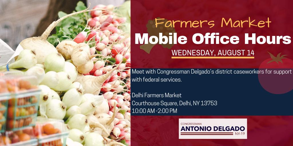 Delaware County: Members of my staff are holding mobile office hours at the Delhi Farmers Market today. Retweet this graphic to spread the word and find out here when we will be at a farmers market near you. delgado.house.gov/media/press-re…