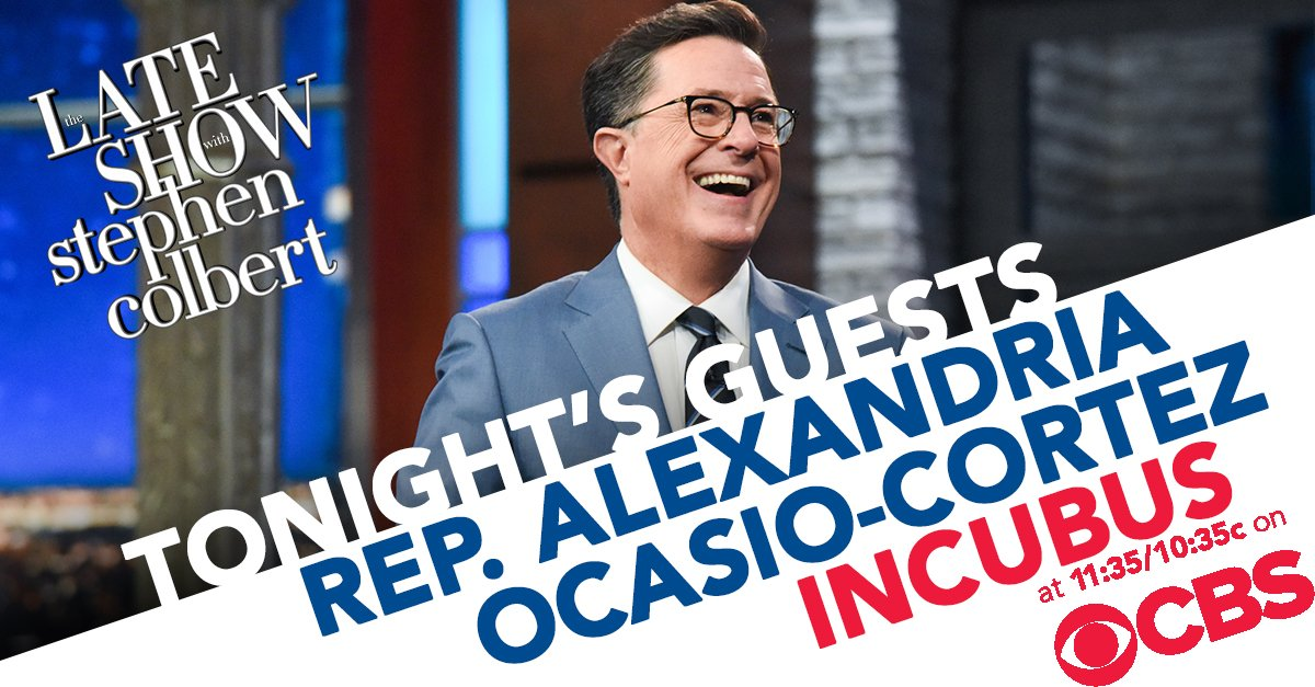 TONIGHT: Representative @AOC chats with Stephen. Then @IncubusBand takes the stage for a musical performance! #LSSC <br>http://pic.twitter.com/H6tlvbl4Kw