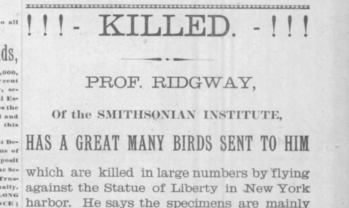 People complained about the Statue of Liberty due to birds flying into it. (1888)  https://www. newspapers.com/clip/34889633/ the_berkshire_county_eagle/   … <br>http://pic.twitter.com/xtjf1tF2lE