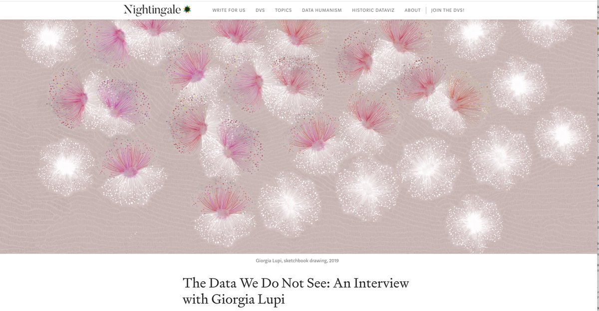A long (and conversational!) interview on the @Medium publication by the @DataVizSociety is out today! medium.com/nightingale/ht… We talk about everything and anything data + design related: future, inspiration, complexity, @pentagram and #datahumanism 🤓