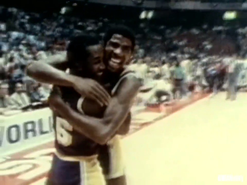 """""""Never fear guys, Magic is here...""""Rookie @MagicJohnson jumped center, played every position and recorded 42 PTS, 15 REB & 7 AST in Game 6 to clinch the 1980 NBA Finals! #NBABDAY"""
