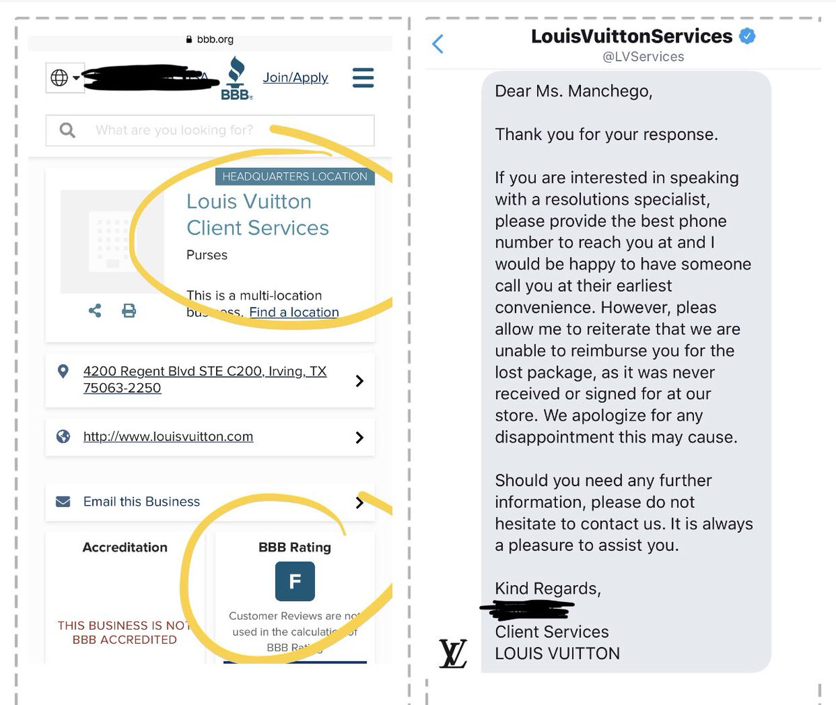 Should've checked @bbb_us first before buying @LouisVuitton_US they sell defective items and tell you to ship to invalid address but don't replace your lost item.@LVServices #WednesdayWisdom #advocacy #isthislegal #judge #wednesdaymorning #MorningJoe #stubborn #WednesdayThoughts