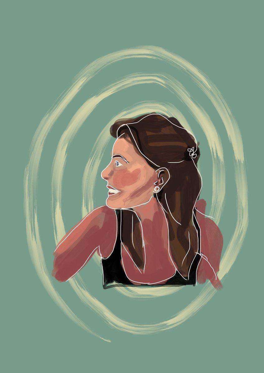 Elke keer als ze komt, laat ze een tekening achter. Lief hè. #zelfportret #procreate