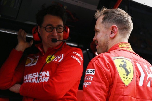 """Mattia Binotto defended by Sebastian Vettel """"I don't think it is right to make a comparison between Arrivabene and Binotto.Every year is different.With Mattia as our leader,we managed to stay calm.The situation was not easy, we did not win all the races"""" #F1 #Seb5 #essereFerrari"""