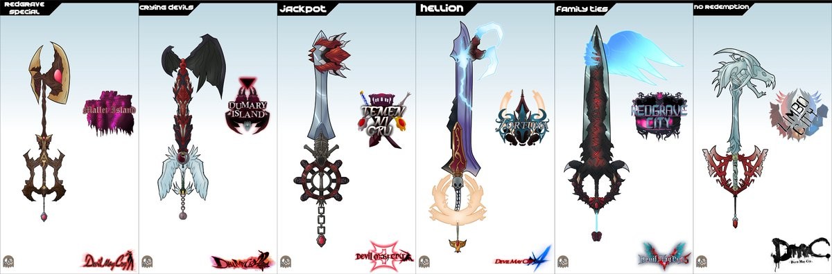 Devil May Cry Keyblades: Set One! This one includes Devil May Cry, Devil May Cry 2, Devil May Cry 3, Devil May Cry 4, Devil May Cry 5, DmC: Devil may Cry! #Keyblades #KingdomHearts #DevilMayCry  http:// fav.me/dde2net     <br>http://pic.twitter.com/orNM1YvXsr