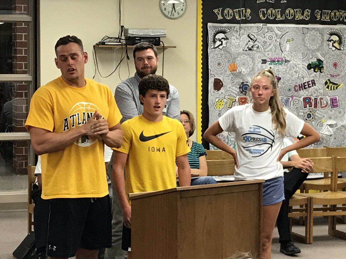 Big thanks to Coach Hall, trainer Andy Niemann, juniors Haley Rasmussen and Grant Sturm for presenting to the Board about all the hard work taking place in the weight room this summer! #TrojanPride
