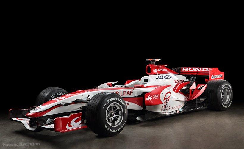 """【Super Aguri SA07】 2007年のF1に参戦したマシン  ホンダの栃木研究所と協力して制作 前年のRA106と酷似したデザインになった 心臓部は2.4L V8 """"RA807E""""  ホンダワークスチームが不振になる中 佐藤琢磨が2度の入賞を果たし 一時は本家を上回るパフォーマンスを 見せた"""