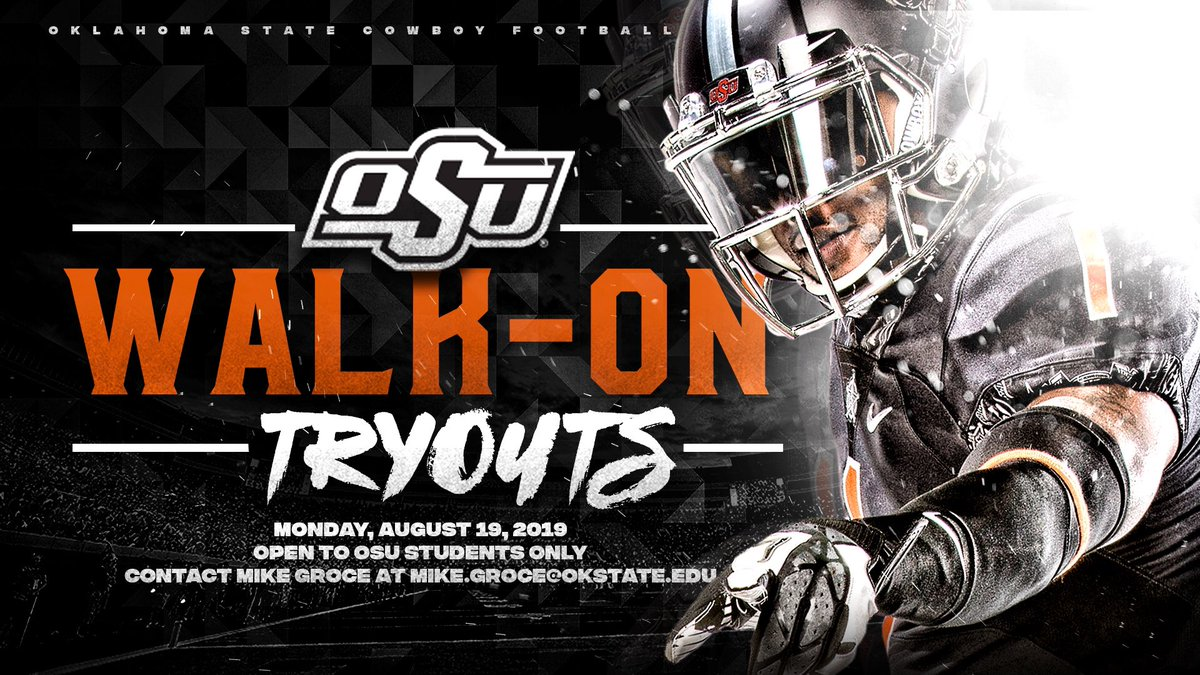 Walk-on Tryouts  2019 fall walk-on tryouts are next week, Monday, Aug. 19.  Great opportunity for current #okstate students to be a part of the program. Click the link for important details:  https:// okla.st/2H7zlOb       #GoPokes <br>http://pic.twitter.com/8lr0cVLyFc