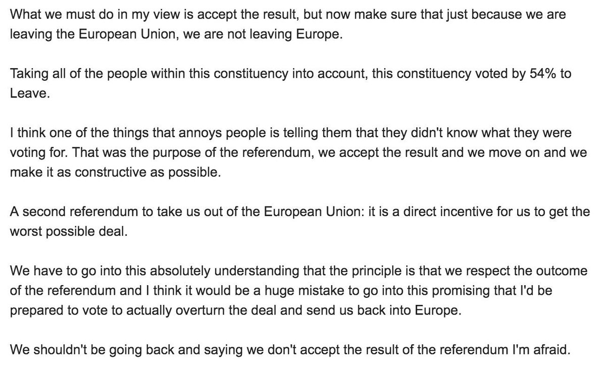 This is what Sarah Wollaston told her constituents at a hustings during the 2017 election: she would respect the referendum result and would not back a second ref. You can see why there will be huge pressure on her to call a by-election when she defects to the LibDems...