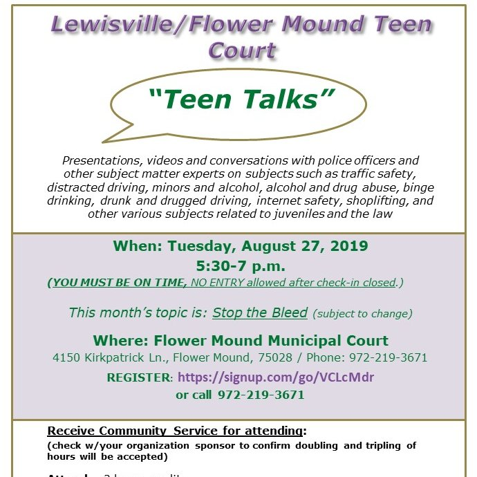 Lew Fm Teen Court On Twitter August S Teen Talks Is Tues Aug