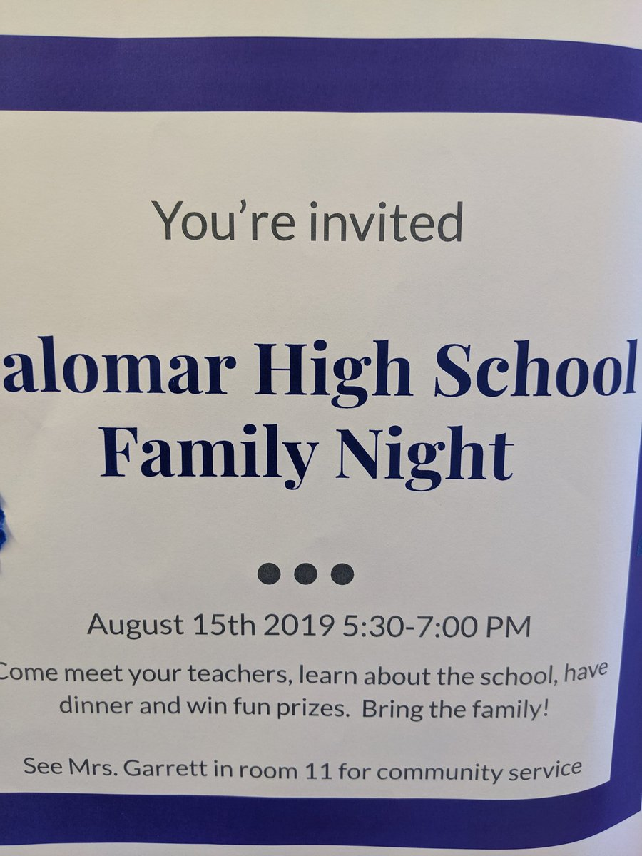 Family night @PalomarHs @SUHSD join us. Meet our faculty get dinner and win prizes.