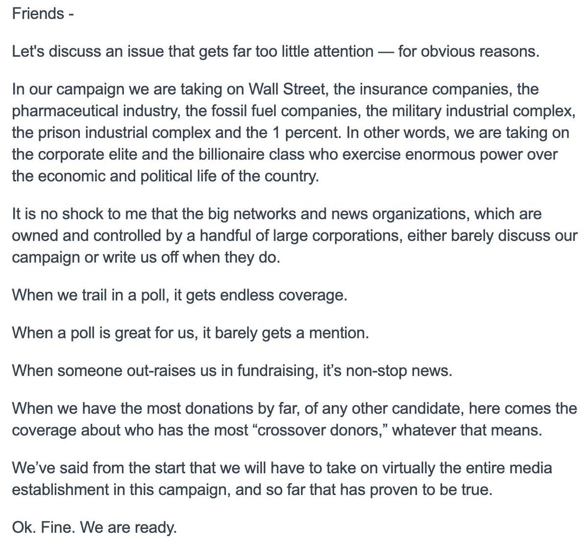 """New @BernieSanders e-mail goes in-depth on his media critique.  """"A few large corporations like Verizon, AT&T, Comcast, Fox, Disney, Viacom, and CBS control the vast majority of what we see, hear, and read."""" <br>http://pic.twitter.com/W9z7BKWyHs"""