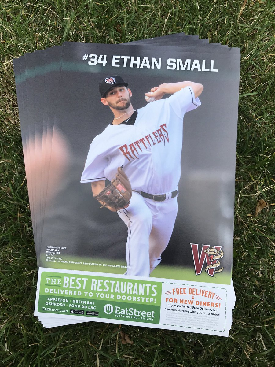 He may be our Friday night starter but the 1st 1,000 fans TONIGHT will get an Ethan Small player poster! @E7hanS was the @Brewers #1 Pick in 2019! #TRatNation @EatStreet