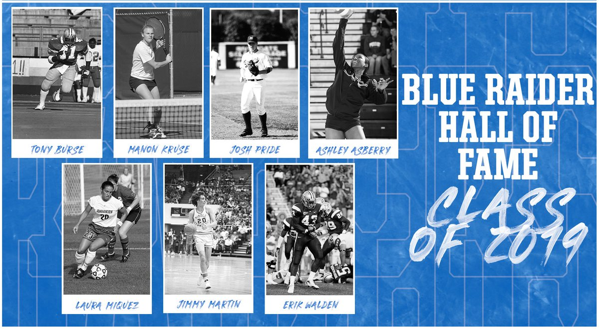 Congratulations to the #BlueRaider Sports Hall of Fame Class of 2019. Induction Day is Oct. 5, 2019 on the lawn of the Kennon Sports Hall of Fame. See you there!