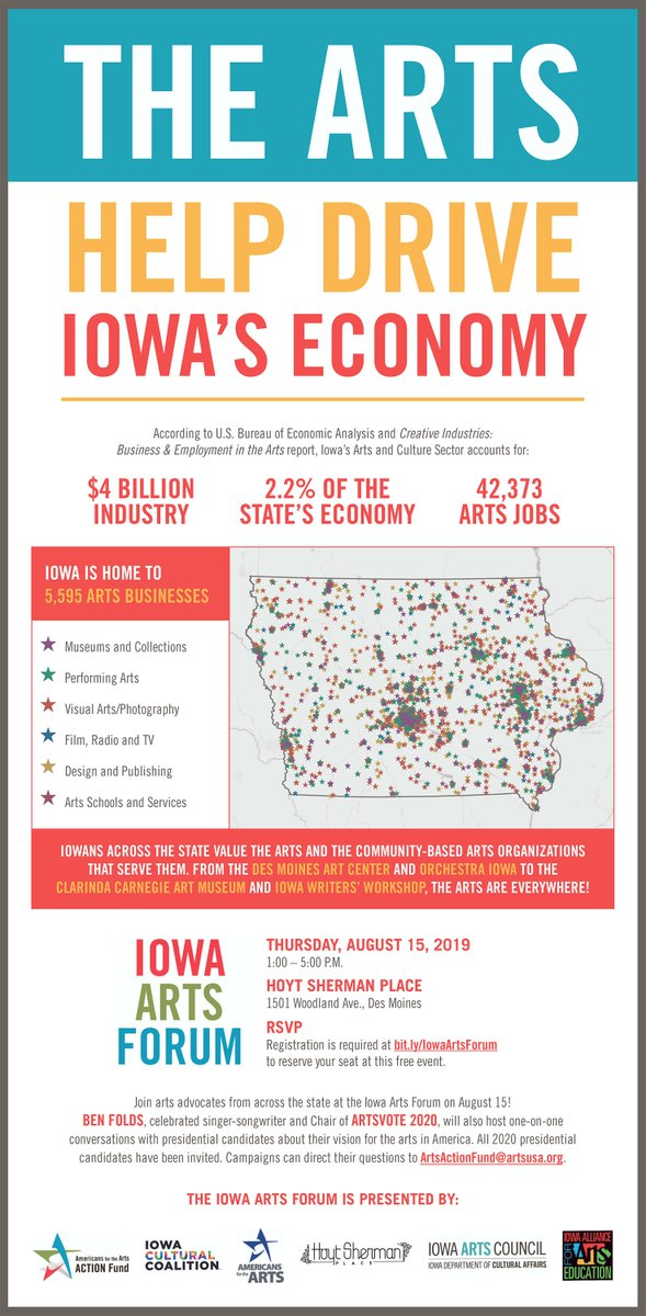 Arts policy makes a big big difference in making our lives better, but also in the huge impact of our economy. It's not a minor thing! See you in Iowa!