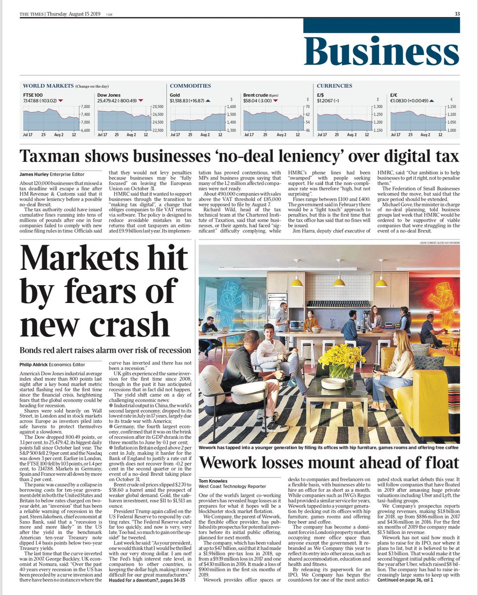 Tomorrow's @TimesBusiness front page: Markets hit by fears of new crash #tomorrowspaperstoday