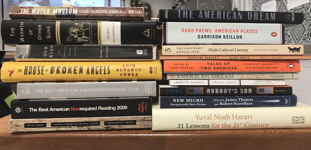 My upcoming 'Notes on American Experiences' curriculum continues to develop. @ncte Here's my current (but incomplete) stack—what's missing? #NCTEvillage Ocean Vuong, Jhumpa Lahiri, James Baldwin, Jose Antonio Vargas and a few podcasts not pictured, but planned. #DisruptTexts<br>http://pic.twitter.com/EiZvT2JmOA