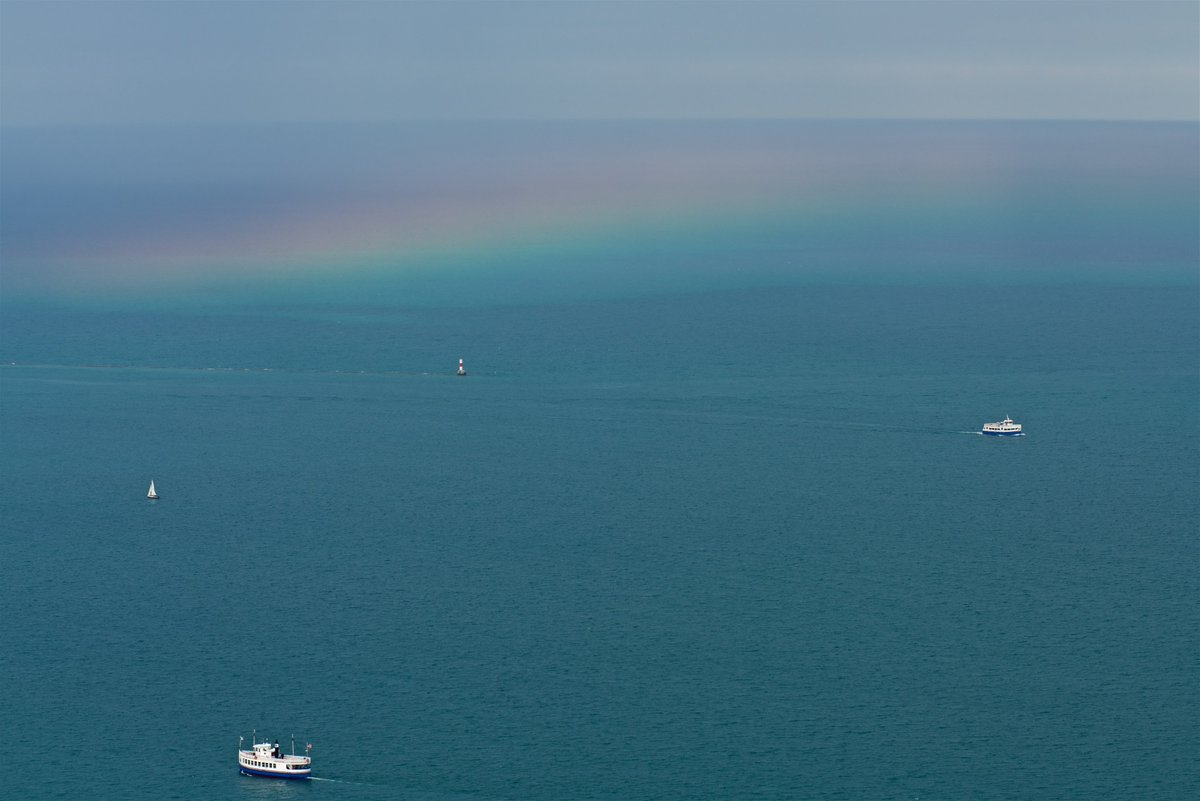 Rainbow over Lake Michigan this afternoon in Chicago