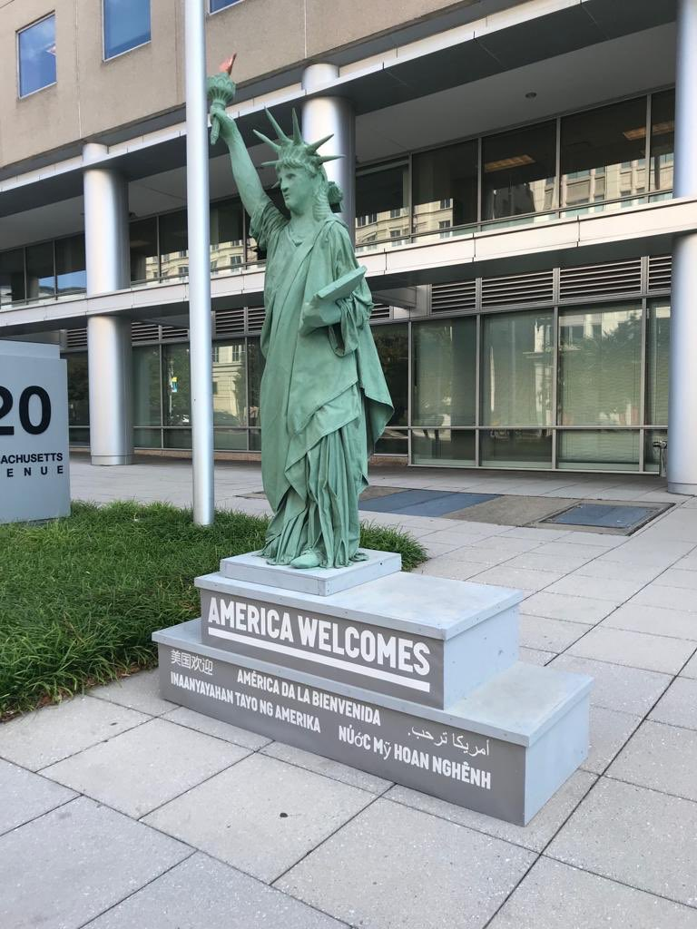 RIGHT NOW: In stark contrast to the USCIS Director twisting the welcoming words of Emma Lazarus, there's a new statue outside of USCIS headquarters: