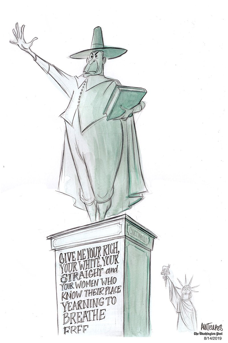 .@AnnTelnaes draws Ken Cuccinelli's idea of the Statue of Liberty  https:// wapo.st/31GbQ6Q      <br>http://pic.twitter.com/3QuwIsmCV9