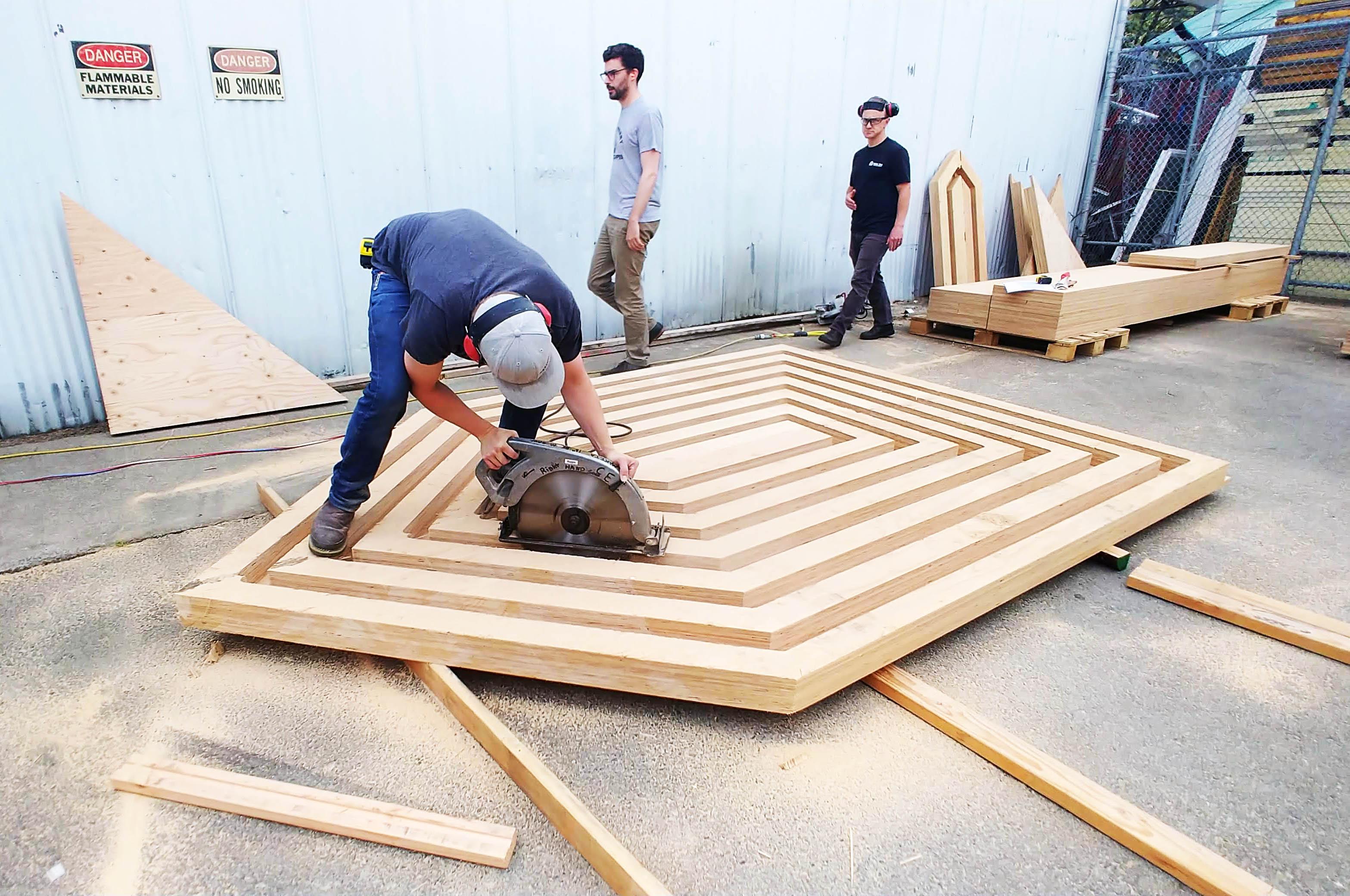 Plunge-cutting #massplywood panels for Seattle Des…
