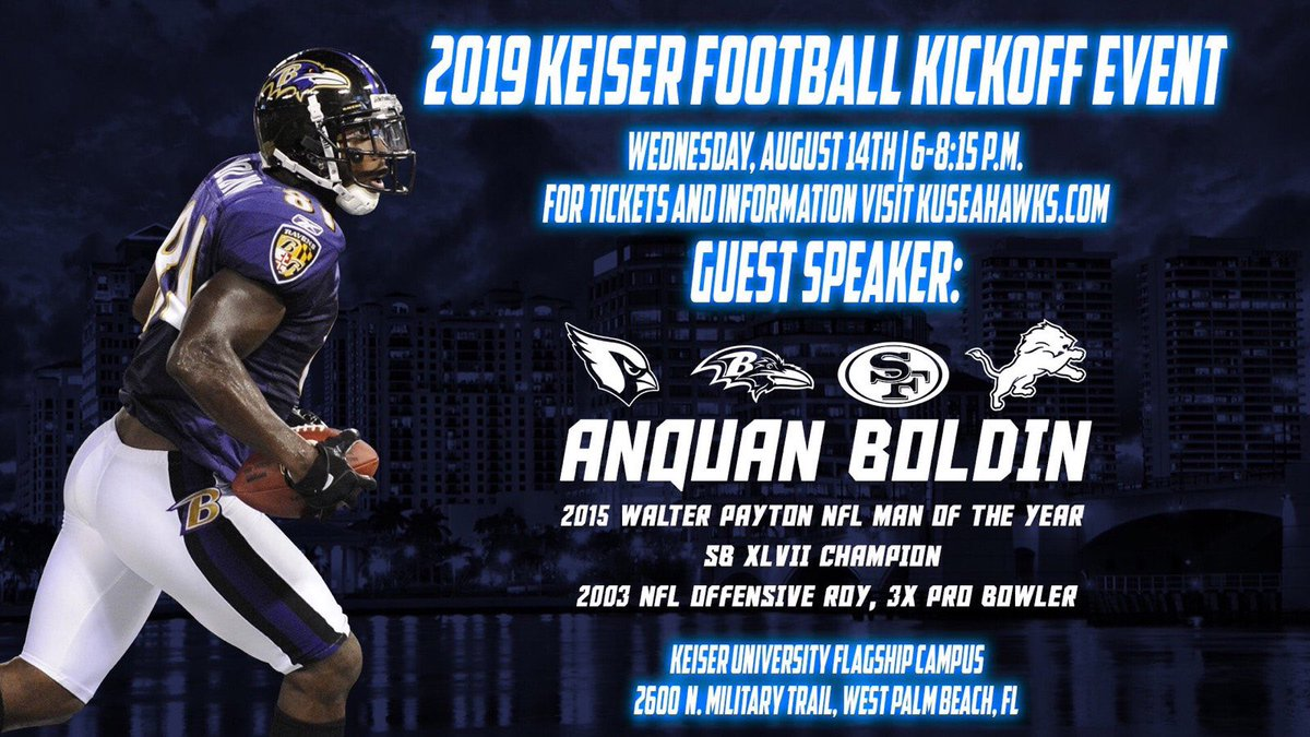 KU #FOOTBALL FEVER begins TONIGHT at KU #Flagship at 6pm! In addition to KU leaders ringing in the season, Super Bowl XLVII champion & 2015 Walter Payton NFL Man of the Year Anquan Boldin will speak.   Bring it on #Seahawks!  #keiserfootball #keiseruniversity #keiserseahawks<br>http://pic.twitter.com/Ru7WaIn6zy