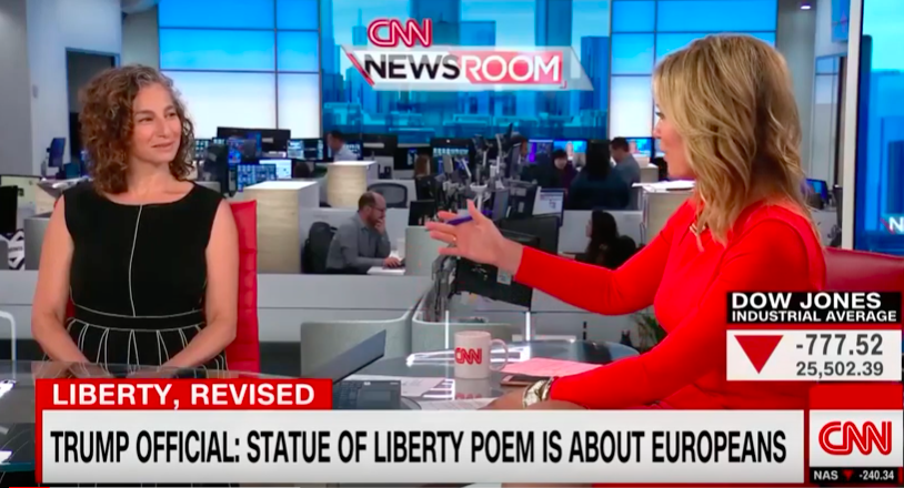 """Today on @CNN our Executive Director @anniepolland discussed Emma Lazarus and the context in which she wrote """"The New Colossus"""" with @BrookeBCNN, and shared inspiring original poems penned by NYC 6th graders.  http:// youtu.be/uYEFqrrnHHA     #EmmaLazarusProject <br>http://pic.twitter.com/rNftMscEKL"""