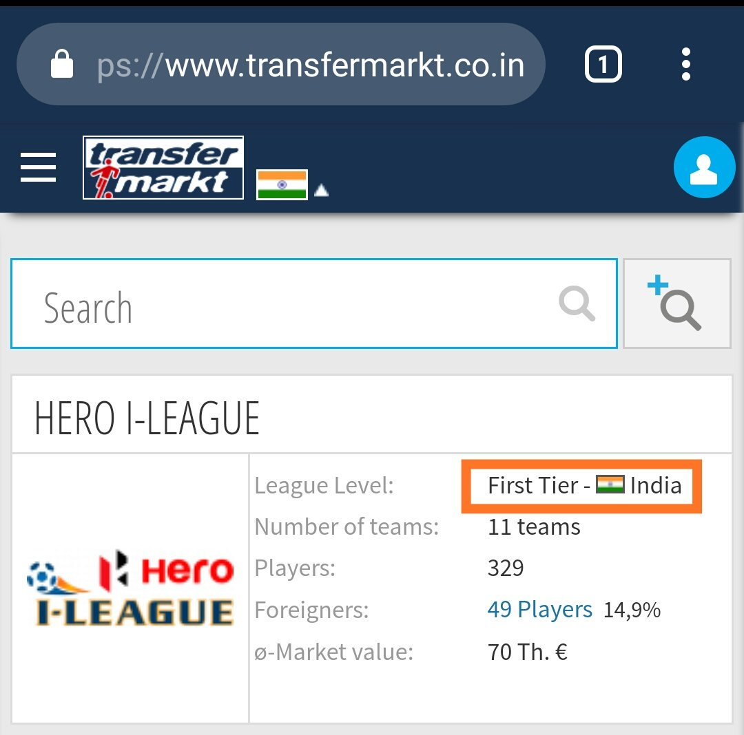 🤔So which one is the top tier league in India this season @Transfermarkt?