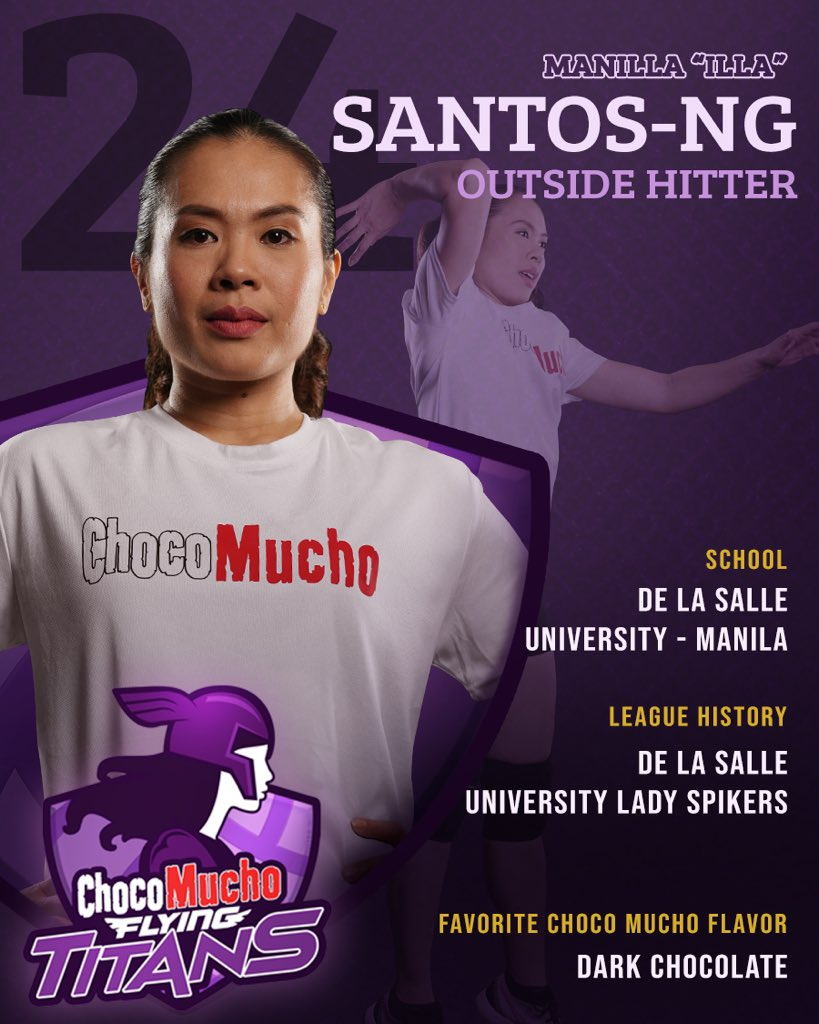 """DLSU Lady Spikers' living legend- Manila """"Illa"""" Santos-Ng is proud to make a comeback as she soars with the Choco Mucho Flying Titans! 🏐💜#ChocoMucho #FlyingTitans #TitanPride https://t.co/Iph7nSmQVF"""