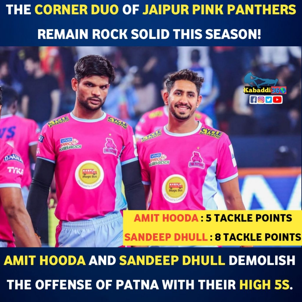 Tackling the attack of any team, Pink Panthers' style. 😎  #amithooda  #SandeepDhull  #jaipurpinkpanthers  #vivoprokabaddi  #PKLwithKabaddi360  #IsseToughKuchNahi