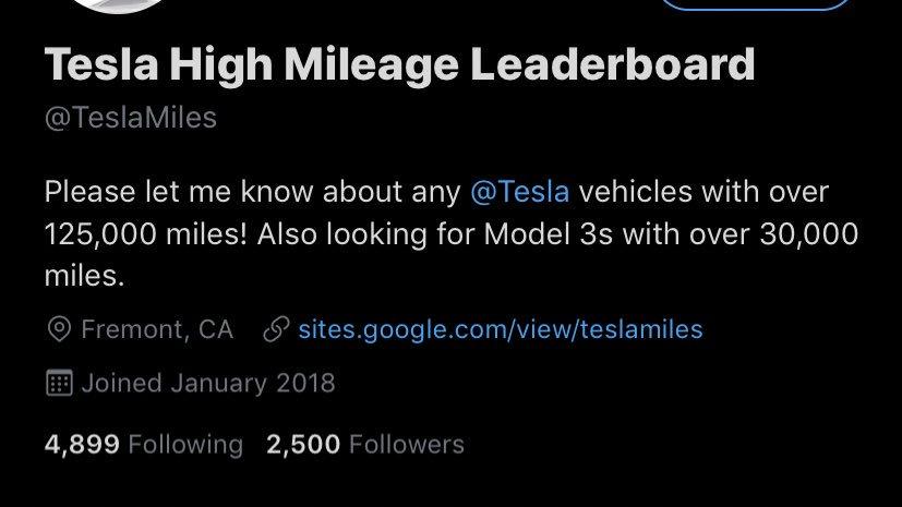 Tesla High Mileage Leaderboard (@TeslaMiles) | Twitter