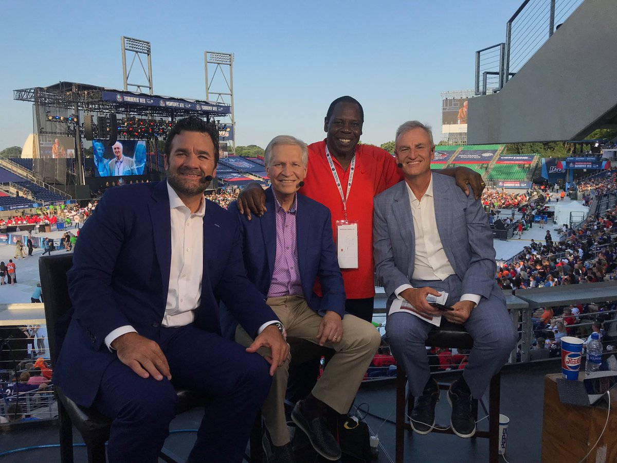 "Always an honor to ""work"" ⁦@ProFootballHOF⁩ enshrinement ceremonies and to visit with dear friends like Tom Jackson, who is here to honor his ⁦@Broncos⁩ owner, the late Pat Bowlen. Our ESPN team includes ⁦@wingoz⁩ & ⁦@SaturdayJeff⁩"