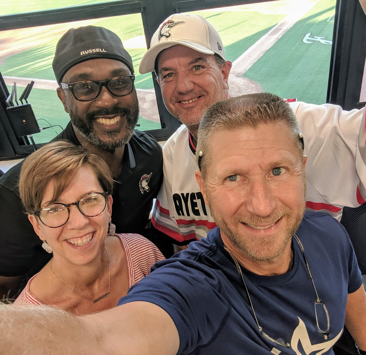 Thanks to Ray Thomas and Jeff Garner for the @WoodpeckersNC   press box tour. Amazing all that happens to make the fan experience awesome!  @eileen_hatch  @FTS_BASEBALL https://t.co/znZtBwTsdG
