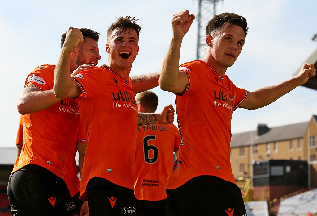 Shankland, Robson and butcher celebrate one of the strikers four goals