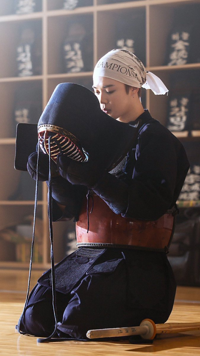 """Kendo, meaning """"way of the sword"""", is a Japanese martial art based on philosophies and theories of swordsmanship that ultimately focuses more on self improvement rather than on beating an opponent. @BTS_twt #JIMIN https://t.co/XLwU1V0abj"""