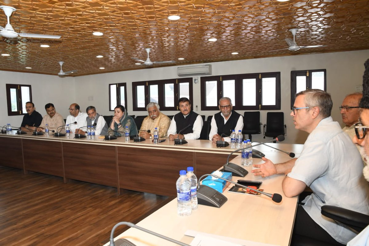 JKNC vice president Mr Omar Abdullah today presided over party's Political Affairs Committee (PAC) meeting at Nawai Subah, Srinagar.