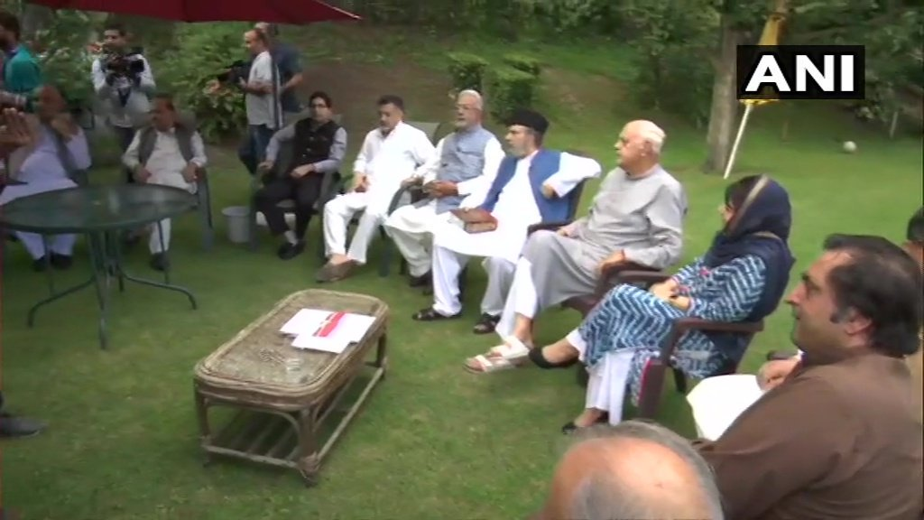 Srinagar: Leaders of political parties of Jammu and Kashmir gather at the residence of National Conference leader Farooq Abdullah's residence for an All Party meet.