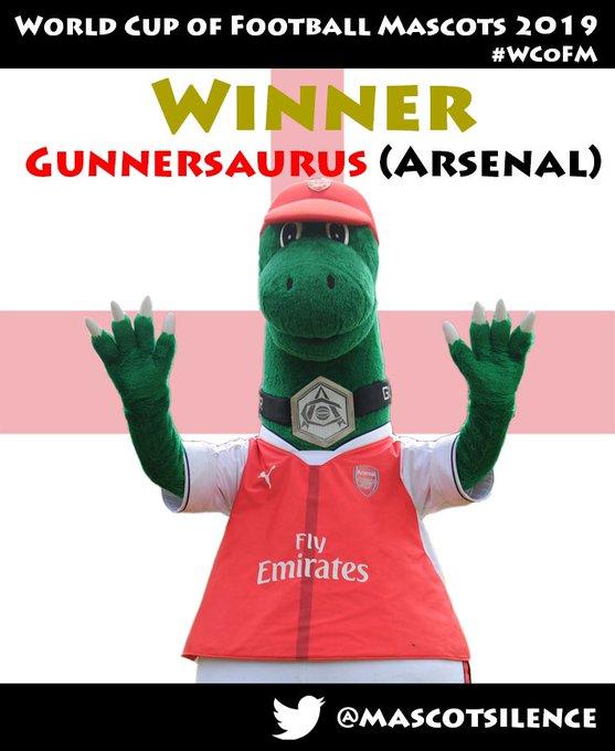 Gunnersaurus, mascota del Arsenal, fue la ganadora.
