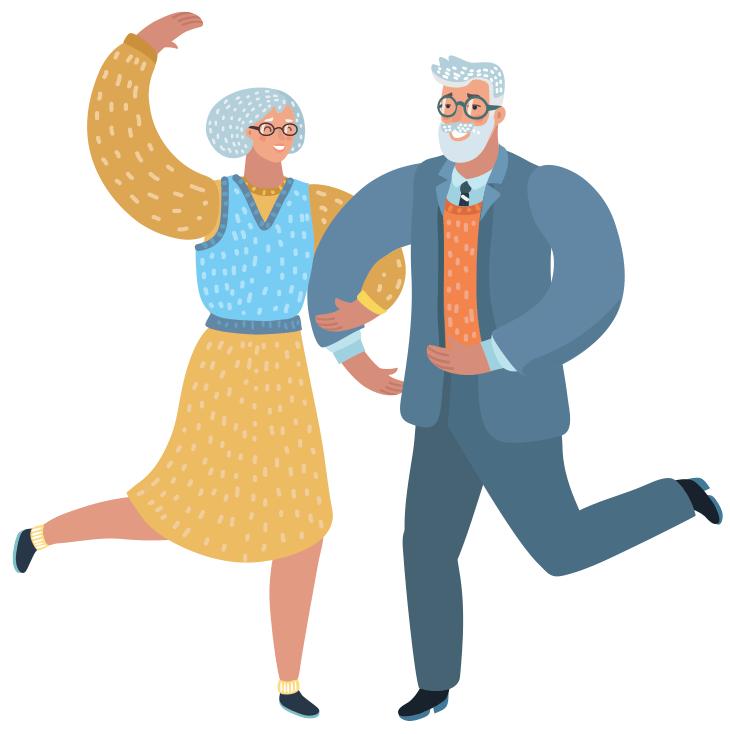 череде картинки о пенсионерах для афиши часы