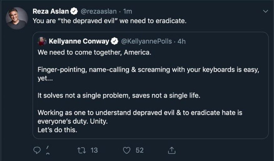 Hey @Twitter   How is this NOT an incitement to violence??  Reza Aslan says Kellyanne Conway needs to be eradicated. This is the same man Twitter failed to take action against after he incited violence against HIGHSCHOOL KIDS at Covington.   Suspend @rezaaslan! https://t.co/Fbt79Too8e