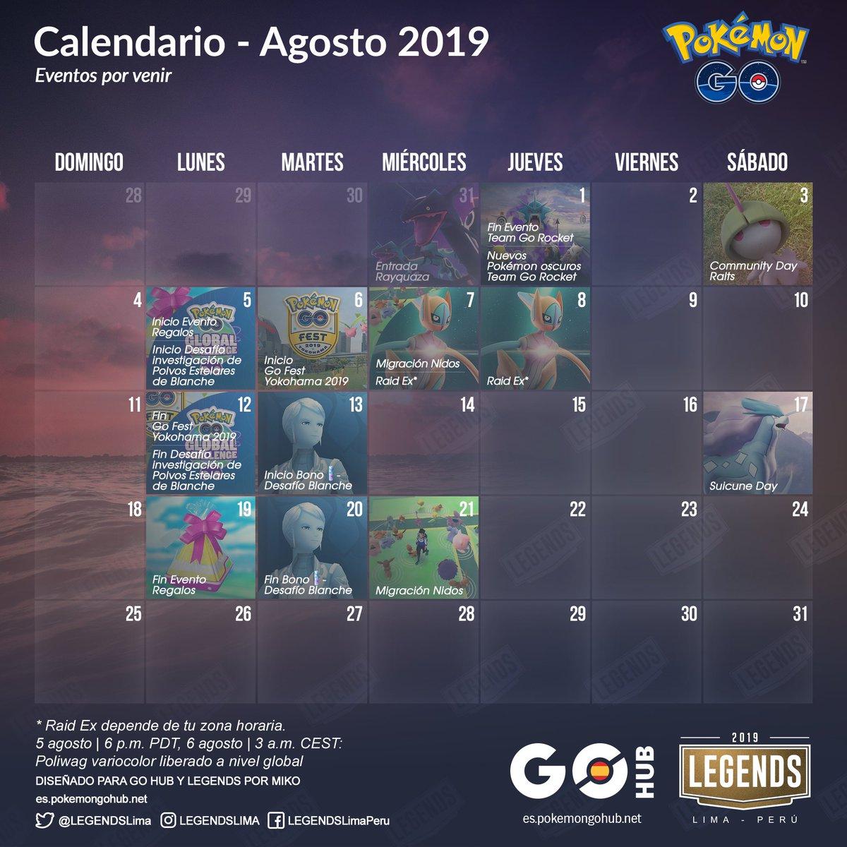 Calendario Agosto 2019 Espana.Pokemon Go Hub Espana On Twitter Calendario Agosto 2019 Aqui Os