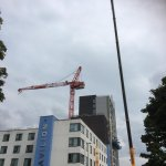 Toy Box project update: The brick slip installation is progressing to all levels, and the bin & bike store bases have been poured in the courtyard.  On 3 August 2019, the Tower Crane was removed as the works now progress to its final stages. #Birmingham #Construction #Student