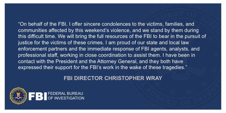FBI Statement Regarding Shootings in El Paso and Dayton fbi.gov/news/pressrel/…