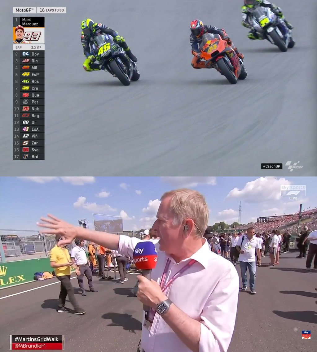 Guys! How can you show @MotoGP and @MBrundleF1 Grid Walk at the same time? The two best features on this Planet. Of course, @ValeYellow46 's engine would be on Mute... https://t.co/mbqIiQreuO