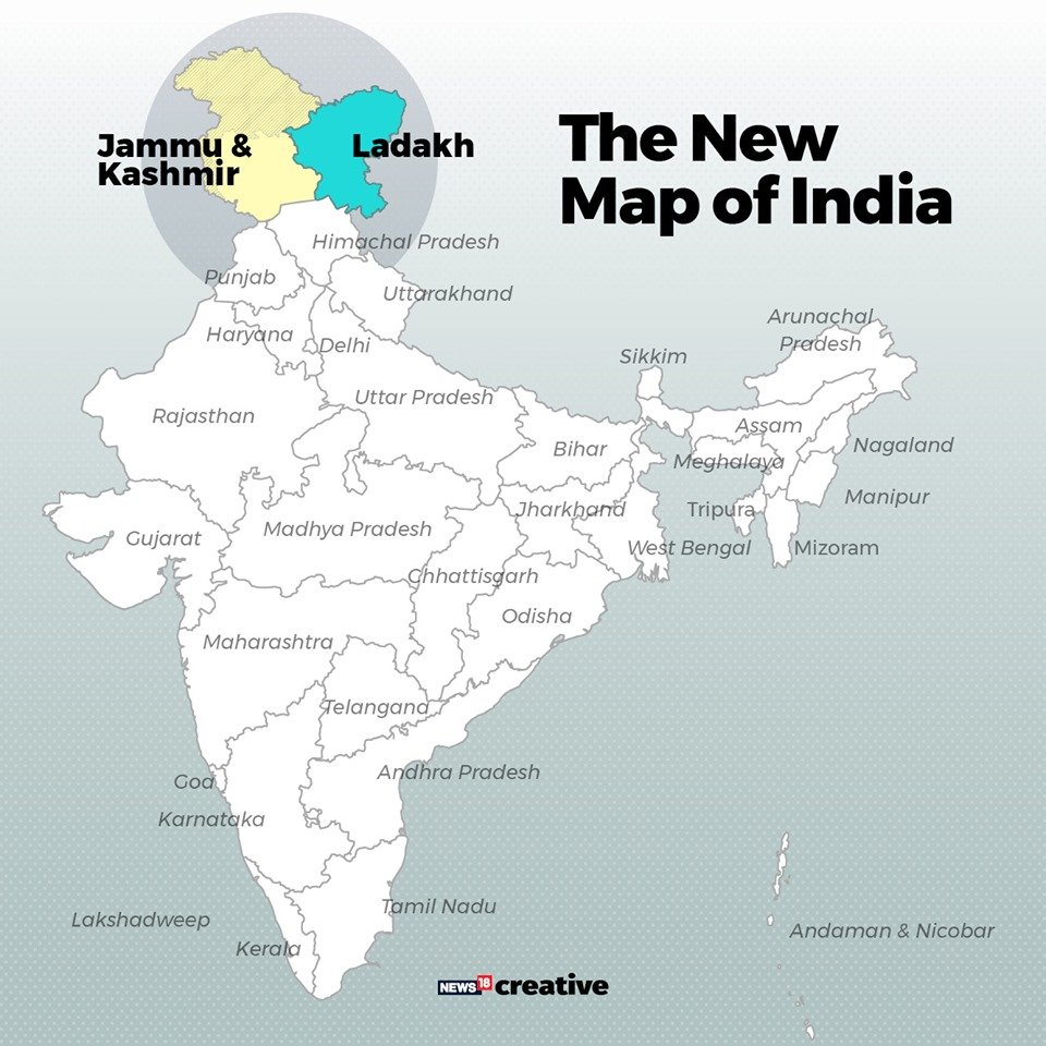 ladakh and kerala in india map Cnnnews18 On Twitter Here S The New Map Of India After ladakh and kerala in india map